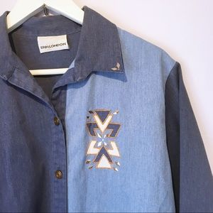 Vintage Erin London Color Block Button Up Top M